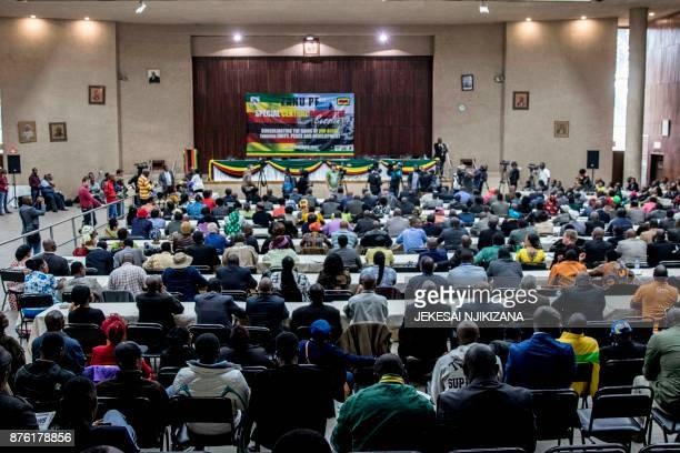 party delegates attend the Central Committee meeting to recall Zimbabwe's president on November 19 2017 at the party's headquarters in Harare...