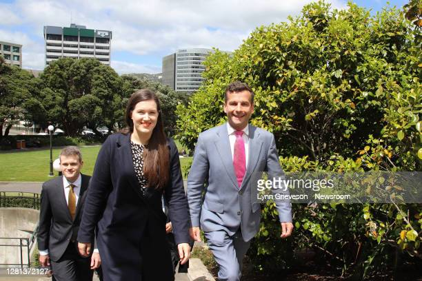 Party Deputy Leader Brooke van Velden and Leader David Seymour lead the ACT caucus of newly elected MPs back to their offices after posing for...