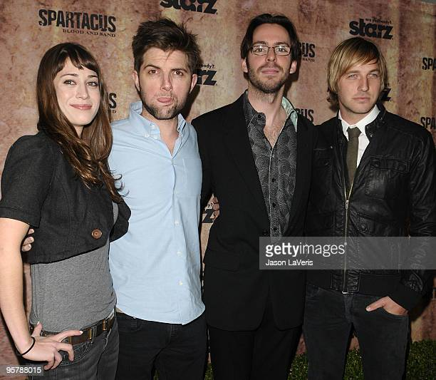 Party Down cast members Lizzy Caplan Adam Scott Martin Starr and Ryan Hansen attend a screening of Spartacus Blood and Sand at the Billy Wilder...