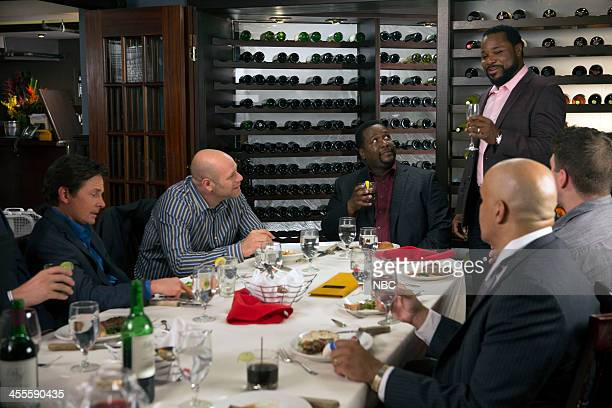 """Party"""" Episode 112 -- Pictured: Michael J. Fox as Mike Henry, Domenick Lombardozzi as Ted, Wendell Pierce as Harris, Malcolm-Jamal Warner as Russell..."""