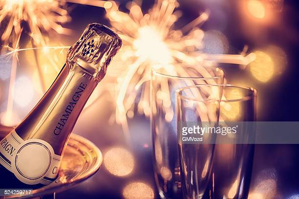 party feeling with sparklers and champagne - champagne stock pictures, royalty-free photos & images