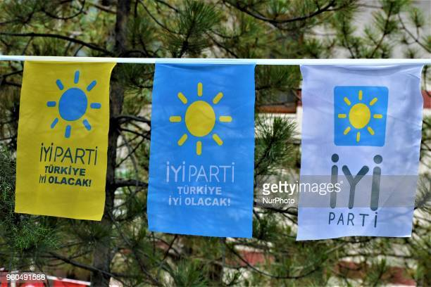 Party flags are displayed during a rally in support of Meral Aksener, presidential candidate and the leader of the opposition IYI Party, in Ankara,...