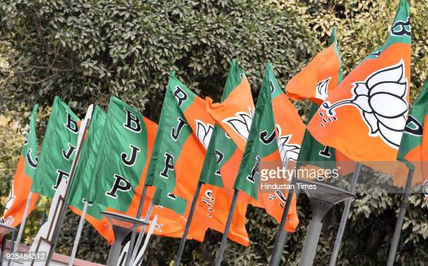 Party Flags for BJP Chief Ministers meeting at party headquarter on February 28 2018 in New Delhi India The meeting discussed ways to provide maximum...