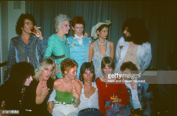 Party following David Bowie's Ziggy Stardust retirment concert, Cafe Royal, London, 4th July 1973. L-R unknown, Angie Bowie, David Bowie, Bianca...