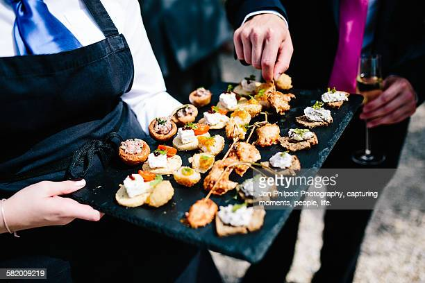 Party food on a slate