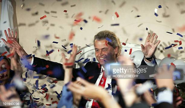 Party for Freedom antiimmigrant leader Geert Wilders reacts in Scheveningen after winning the most seats in the Dutch parliament after national...