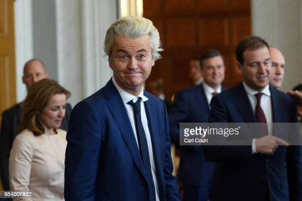 Party for Freedom leader Geert Wilders attends a meeting of Dutch political party leaders at the House of Representatives to express their views on...