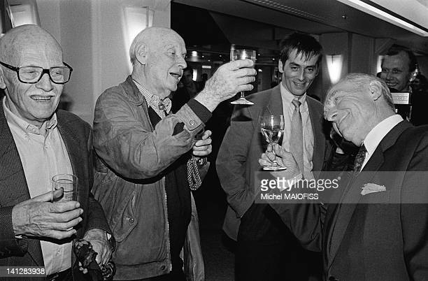 Party for Photographer Robert Doisneau's 80th birthday at the Fnac with photographers Willy Ronis and Henri Cartier Bresson on April 9 1992 in Paris...