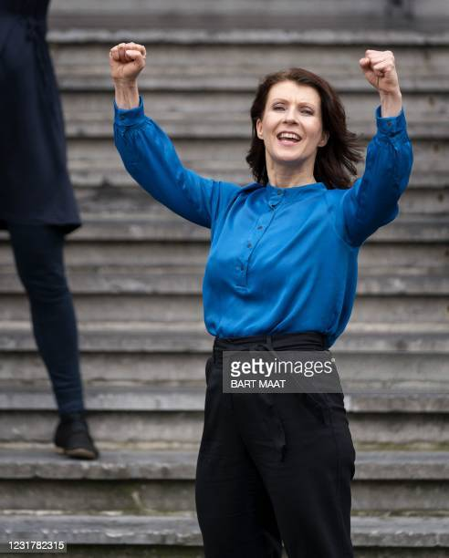 Party for the Animals leader Esther Ouwehand reacts in The Hague, on March 18 the day after the Dutch parliamentary elections. - Dutch Prime Minister...