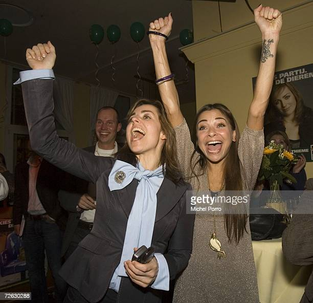 Party for the Animals leader Marianne Thieme and Dutch television personality Georgina Verbaan celebrate the exit poll results in an historic Dutch...