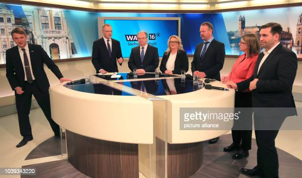 Party frontrunners Andre Poggenburg State Premier Reiner Haseloff Katrin Budde Wulf Gallert Claudia Dalbert and Frank Sitta comment on the results of...