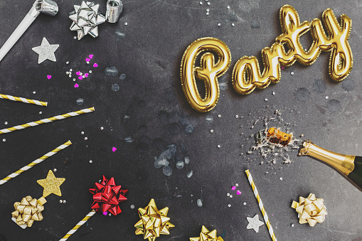 party glitter golden  balloons with confetti.Black background. champage - gettyimageskorea