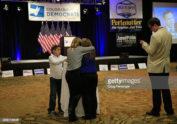 Party goers await the arrival of candidates at a Democratic Party election night event at the Westin Denver Downtown Hotel on November 4 2014 in...