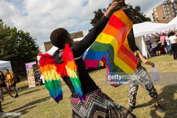 Party goers celebrates the UK Black Pride in Haggerston Park in London, United Kingdom, on July 7th, 2019.