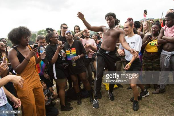 Party goers celebrates the UK Black Pride in Haggerston Park in London United Kingdom on July 7th 2019