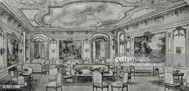 Party hall and galleries on the Italian steamer Duilio drawing from L'Illustrazione Italiana Year XLIII No 13 March 26 1916