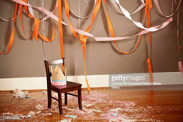 Party hat on wooden chair