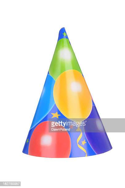 Party hat with balloon pattern on a white background