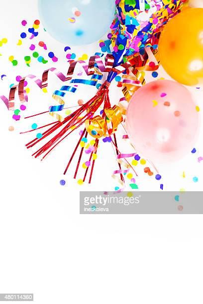 chapéu de festa, balões, confete, fitas - balão decoração - fotografias e filmes do acervo