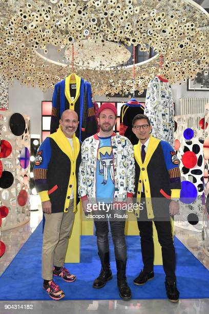 Party host Alessandro Maria Ferreri Chief Executive Officer of The Style Gate Designer Carlo Volpi and Marco Bonaldo owner of GalateoFriends attend...
