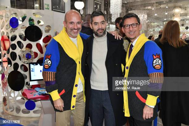 Party host Alessandro Maria Ferreri Chief Executive Officer of The Style Gate Marco Bonaldo owner of GalateoFriends and Stefano Robino attend Food...