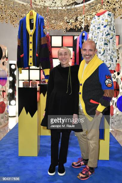 Party host Alessandro Maria Ferreri Chief Executive Officer of The Style Gate and Carla Sozzani attend Food For Fashion Party With Carlo Volpi and...