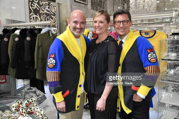 Party host Alessandro Maria Ferreri Chief Executive Officer of The Style Gate Marco Bonaldo and Caterina Ruggeri attend Food For Fashion hosted by...