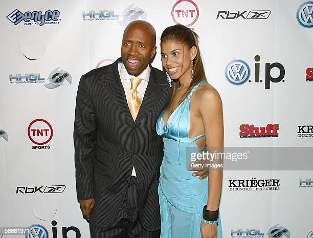 Party host Kenny Smith and wife Dawn at the Stuff Magazine Reebok NBA AllStar Weekend Party held at The Hobby Center for the Performing Arts February...