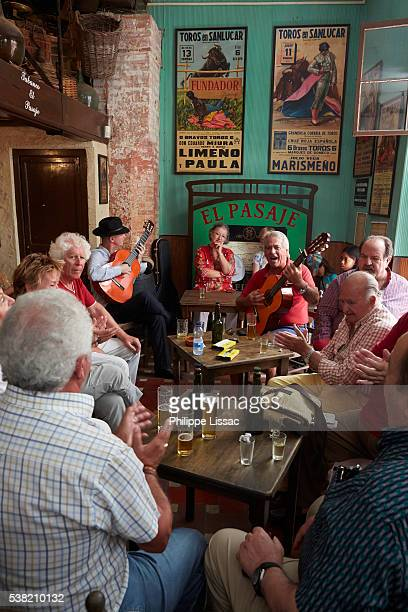 party in a bar in jerez de la frontera - jerez de la frontera stock pictures, royalty-free photos & images