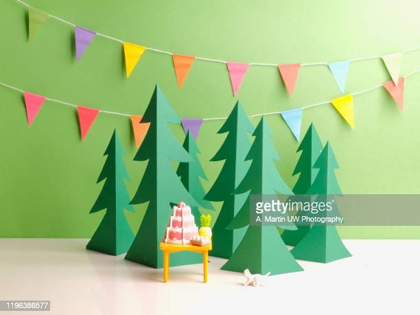 party in the green forest - paper decoration stock pictures, royalty-free photos & images