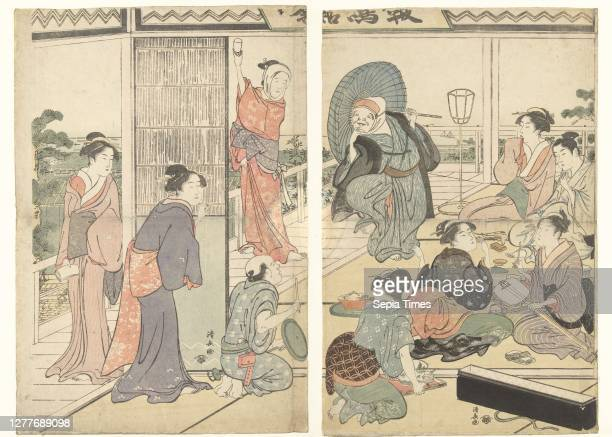 Party in the Komeikan tea house, Group of courtesans, standing and sitting, watching dancing actor with umbrella and mask in front, assisted by man...