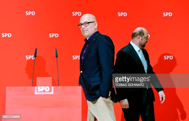 Party leader and Chancellor candidate of Germany's social democratic party SPD Martin Schulz and SPD's topcandidate in SchleswigHolstein Torsten...