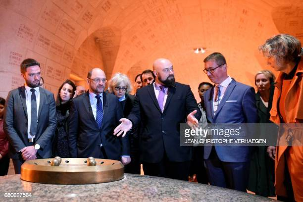 Party leader and Chancellor candidate of Germany's social democratic party SPD Martin Schulz and Mayor of Verdun Samuel Hazard visit the Ossuary with...