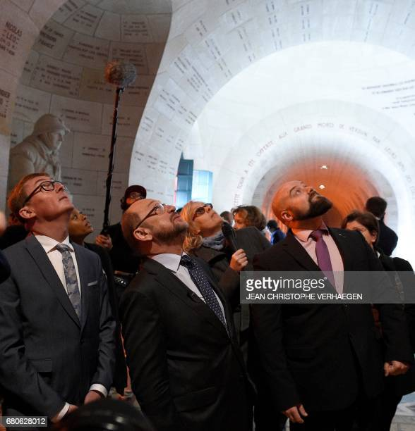 Party leader and Chancellor candidate of Germany's social democratic party SPD Martin Schulz Mayor of Verdun Samuel Hazard and Olivier Gerard...
