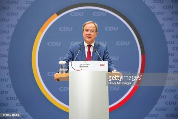 Party leader and Chancellor candidate of the Christian Democratic Union of Germany , Armin Laschet attends a press conference after board meetings at...