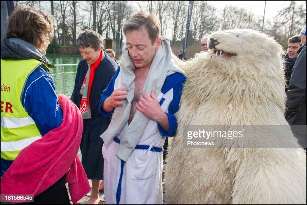 Party Leader and mayor of Antwerp Bart De Wever takes a Polar Bear dip on February 10, 2013 in Deurne, Belgium. Bart De Wever who used to weigh 142...