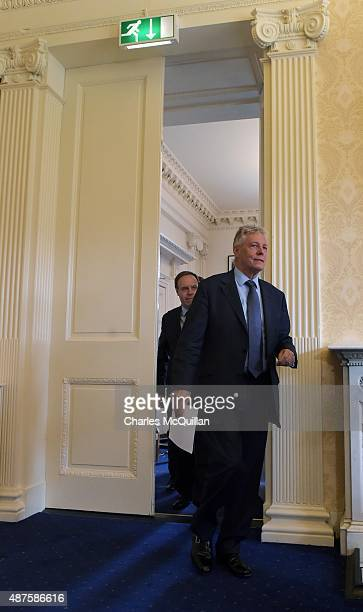 DUP party leader and Northern Ireland First Minister Peter Robinson as he held a press conference at Stormont on September 10 2015 in Belfast...