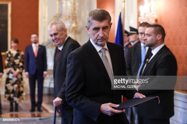 ANO party leader Andrej Babis walks after Czech President Milos Zeman appointed him as the countrys new prime minister on December 06 2017 at the...