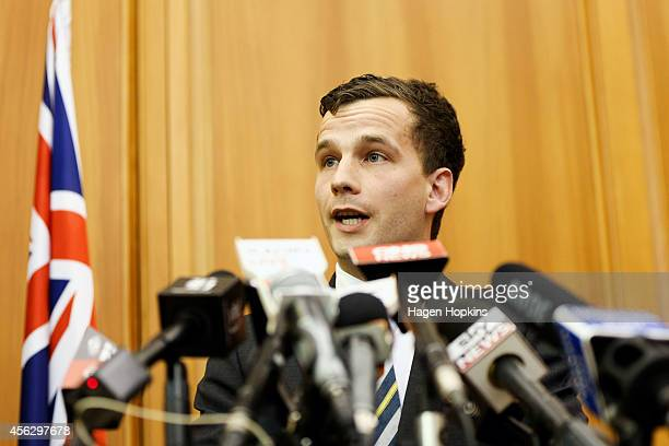 Party Leader David Seymour addresses media at Parliament Buildings on September 29 2014 in Wellington New Zealand Seymour has been appointed...