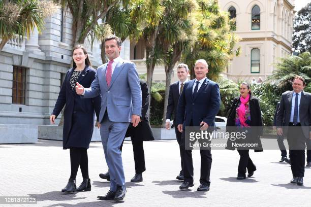 Party Leader David Seymour leads his newly-elected caucus of MPs to pose for photographs on October 21, 2020 in Wellington, New Zealand. Labour's...