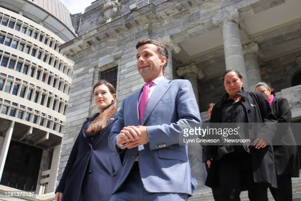 Party Leader David Seymour poses for photographs on the steps of Parliament with his newly-elected caucus of MPs on October 21, 2020 in Wellington,...