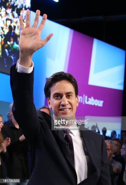 Party leader Ed Miliband waves after giving his keynote speech at the annual Labour party conference on September 24 2013 in Brighton England The...