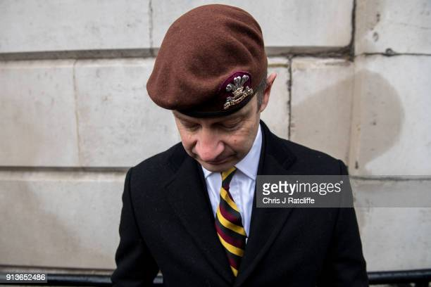 UKIP party leader Henry Bolton wearing a beret from the The Royal Hussars of which he was Lance Corporal during a Justice for Veterans protest at...
