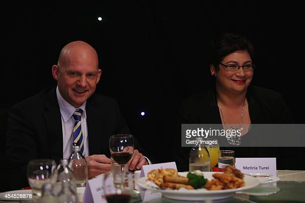 Party leader Jamie Whyte and Green Party CoLeader Metiria Turei take part in the TV3 MMP Party Leaders at a Dinner with the Deciders on September 3...
