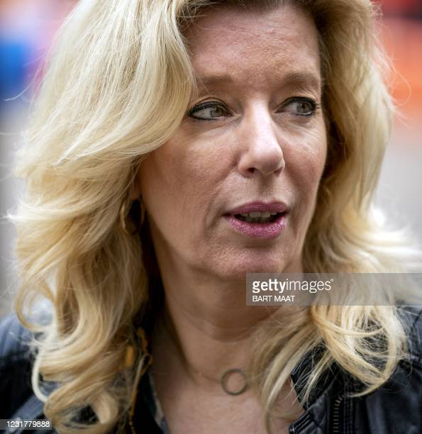 Party leader Liane den Haan arrives at the Binnenhof, the day after the House of Representatives elections in The Hague on March 18, 2021. - Dutch...