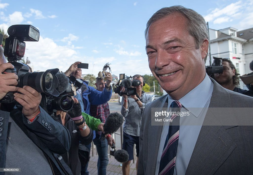 UKIP party leader Nigel Farage enters the Bournemouth B.I.C where the United Kingdom Independent Party are holding their annual conference on September 16, 2016 in Bournemouth, England. UKIP are holding their first conference since the historic vote by the UK to leave the European Union. The conference will also be the last Nigel Farage will attend as leader before handing over to a new leader of the party later today.