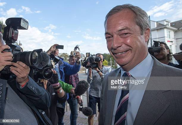 UKIP party leader Nigel Farage enters the Bournemouth BIC where the United Kingdom Independent Party are holding their annual conference on September...