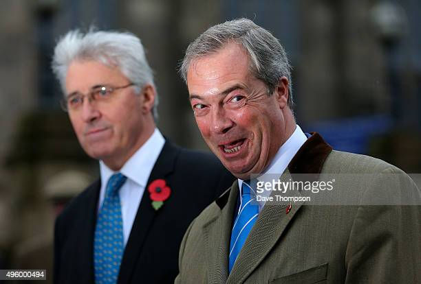 Party Leader Nigel Farage joins UKIP candidate for the Oldham byelection John Bickley at the town's War Memorial weeks before the byelection next...