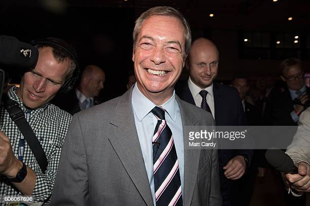 UKIP party leader Nigel Farage makes his farewell leaders speech at the Bournemouth BIC where the United Kingdom Independent Party are holding their...