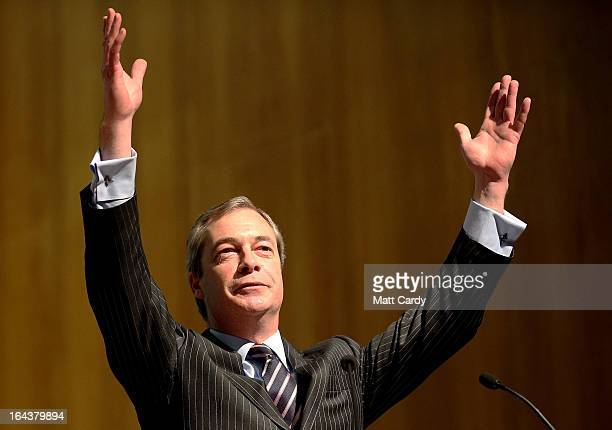 UKIP party leader Nigel Farage makes his keynote speech to the UKIP 2013 Spring Conference being held in the Great Hall Exeter University on March 23...
